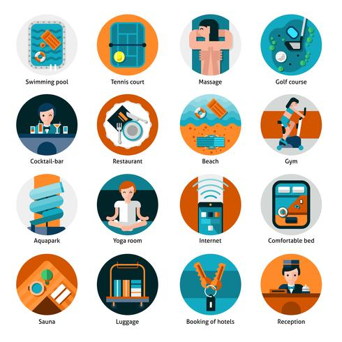 Hotel Offers Icons Set  vector
