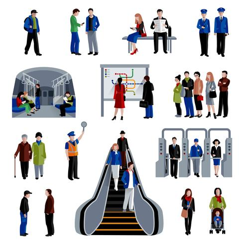 Subway passengers flat icons collection