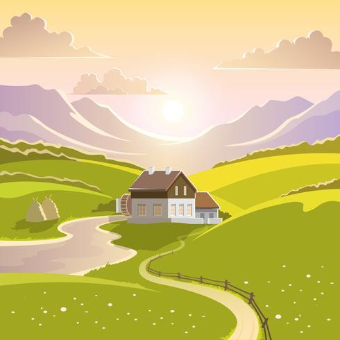 Illustrazione di paesaggio di montagna