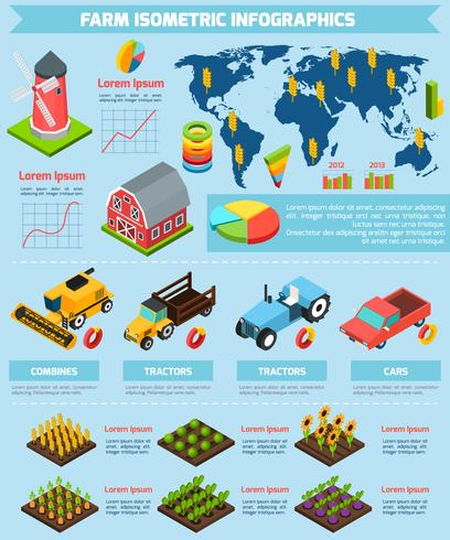Farming facilities and equipment infographic report vector