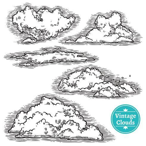 Hand getrokken wolken Set
