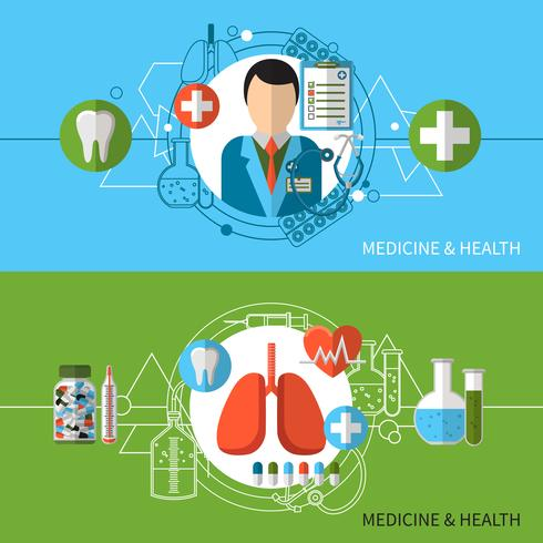 Medicine And Health Banners Set