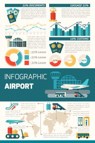 Conjunto de infográficos do aeroporto vetor