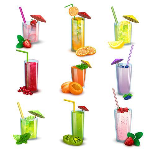 Zomer milkshakes dranken platte pictogrammen instellen vector