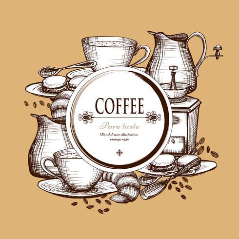 Koffie samenstelling vintage stijl samenstelling poster vector