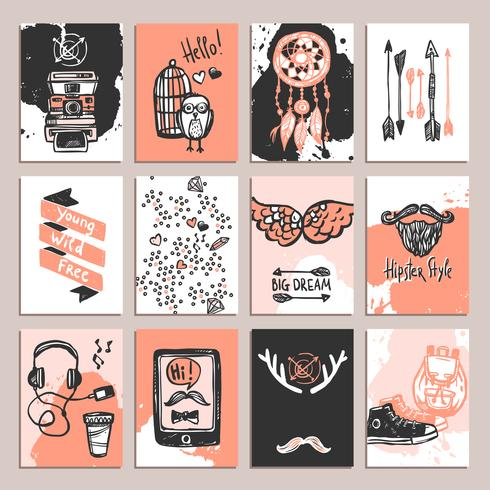 Conjunto de tarjetas de Hipster
