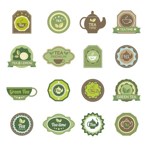 Green tea labels icons set vector
