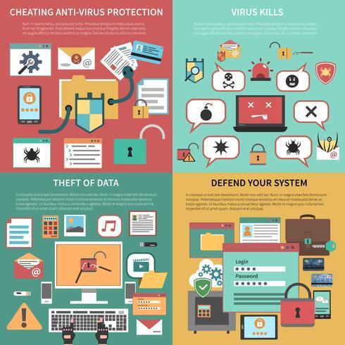 Composizione piana nelle icone del quadrato di sicurezza informatica