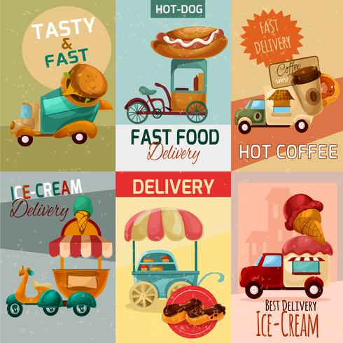 Carteles de entrega de comida rápida vector