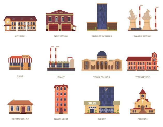 Geplaatste de uitstekende pictogrammen van stadsgebouwen