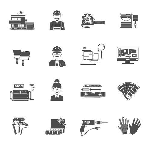 Conjunto de iconos de diseño interior negro