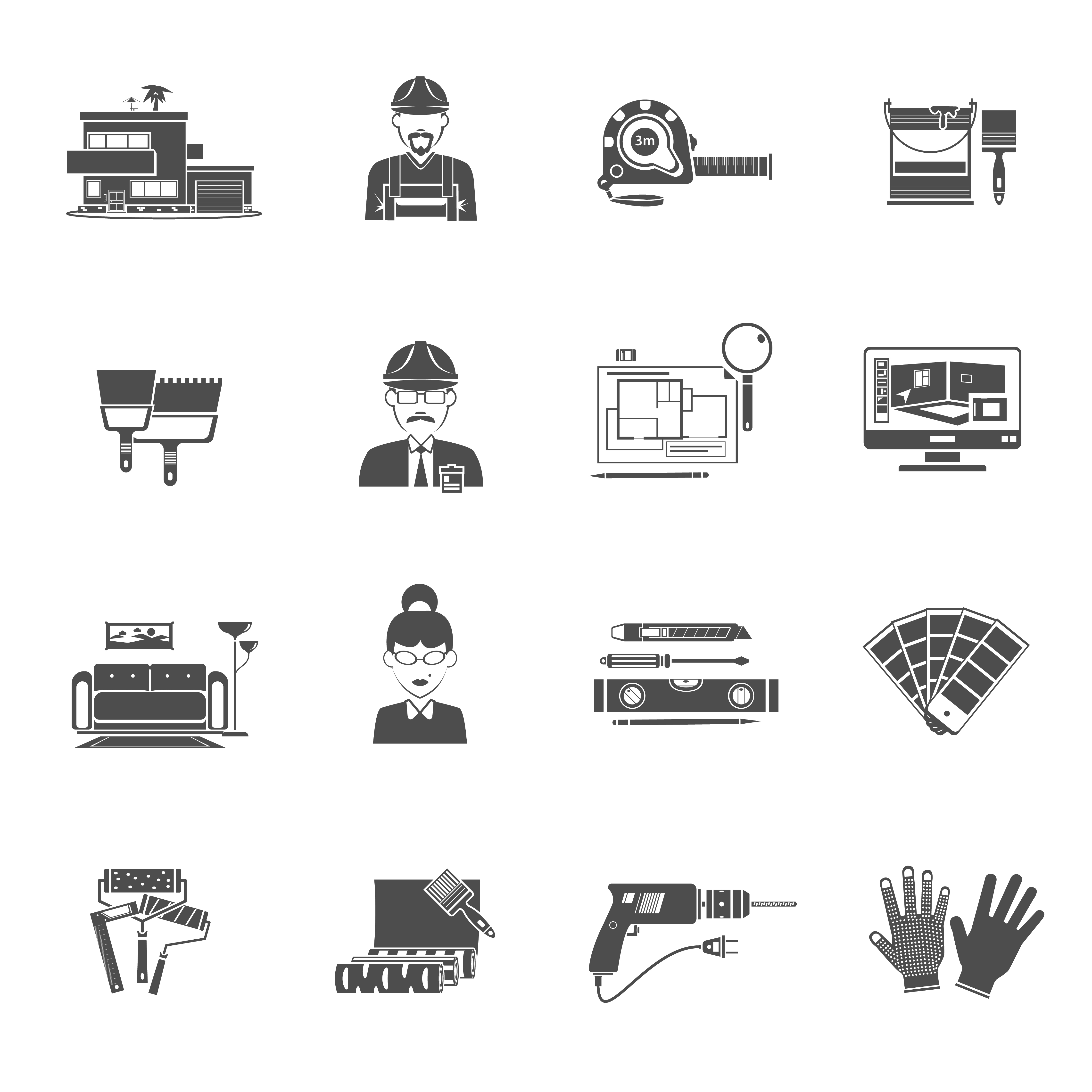 Interior Design Free Icons: Interior Design Black Icons Set