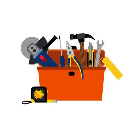 Caja de herramientas para la reparación de la casa de bricolaje vector