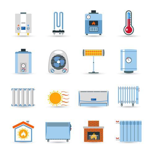 Conjunto de ícones de cor lisa de aquecimento