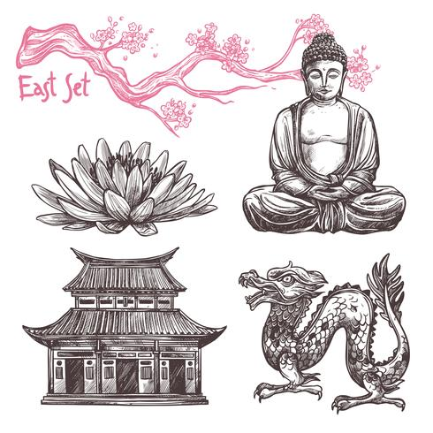 Set di schizzo asiatico