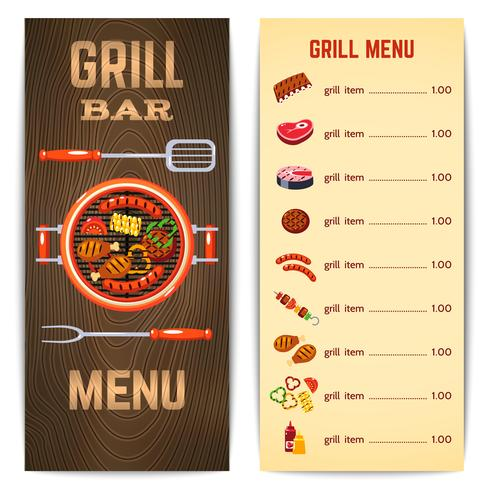 illustrazione del menu grill vettore