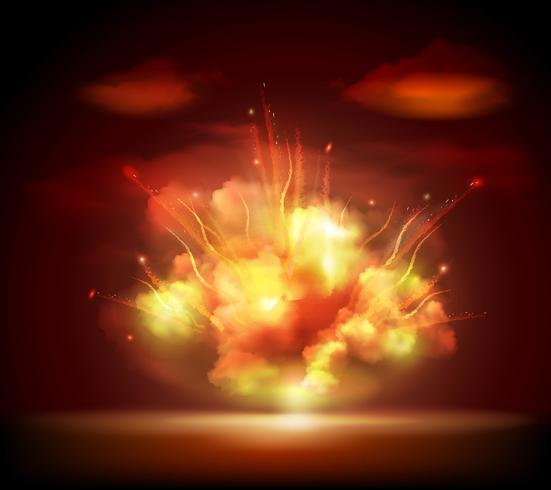 Bandeira de fundo de explosão à noite
