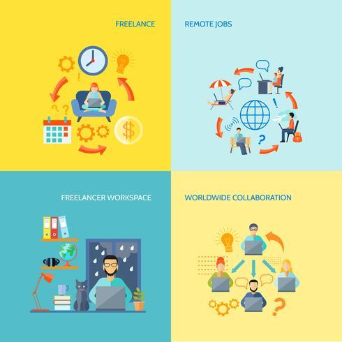 Freelance Decorative Icon Set vector