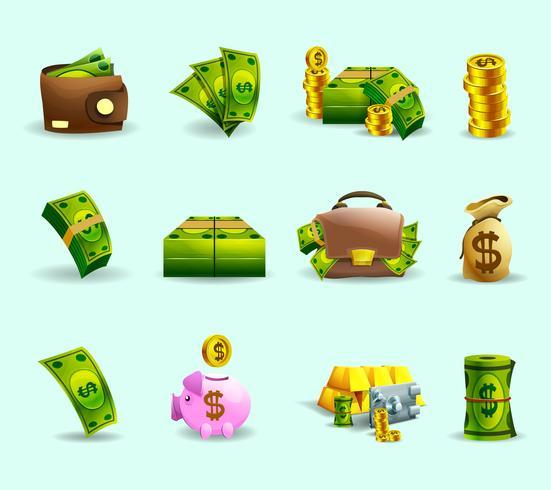Set di icone piane di pagamento in contanti vettore