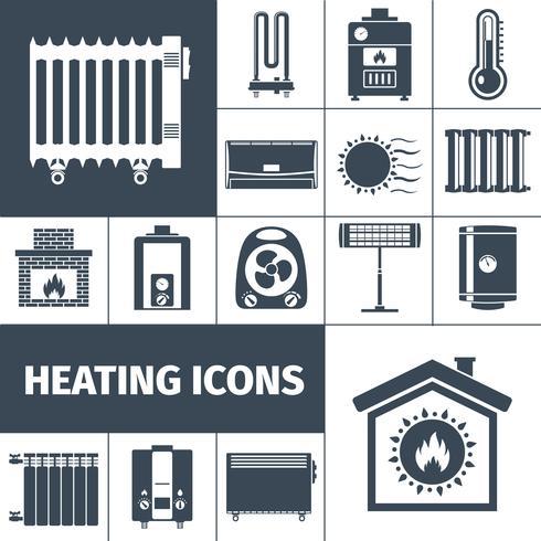 Verwarming Flat Icon Set vector