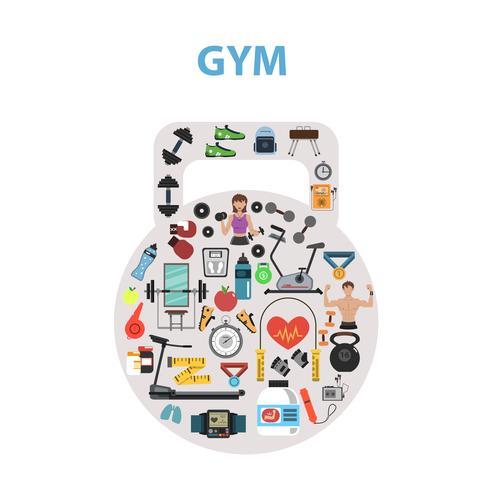 concept de gym plat vecteur