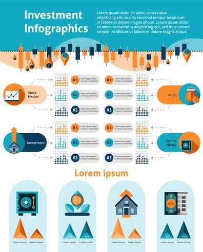 Conjunto de infografías de inversión