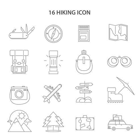 Hiking Line Icons Set