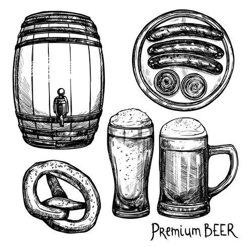 Conjunto de iconos decorativos de bosquejo de cerveza