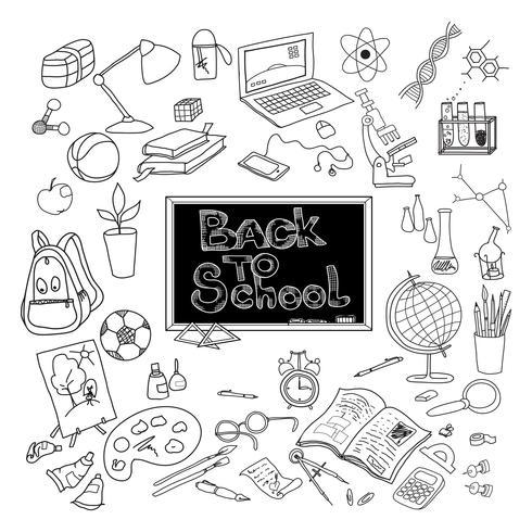Back to school doodle poster black vector