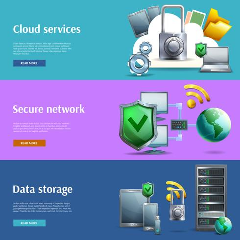 Conjunto de banners de almacenamiento y protección de datos.
