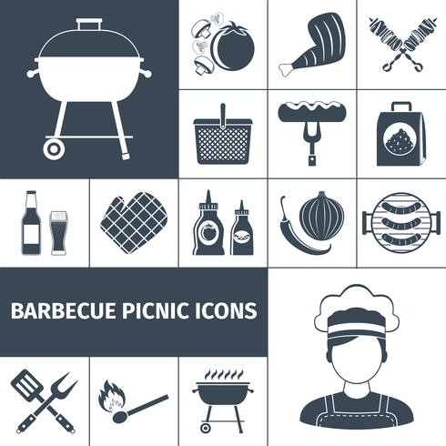 Conjunto de iconos de barbacoa picnic negro