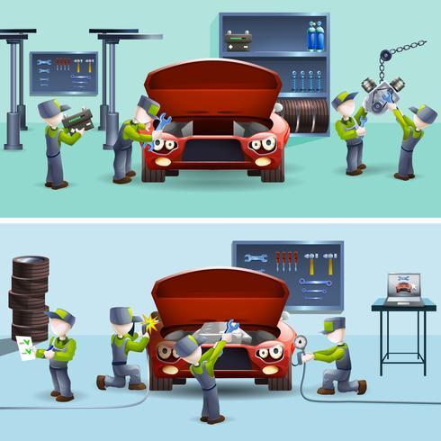 Conjunto de banners planos de servicio mecánico automático.