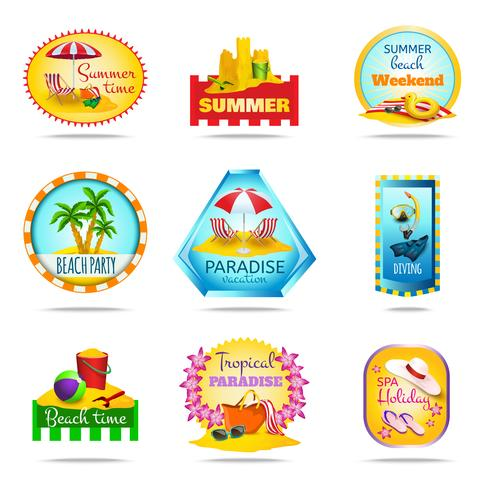Conjunto de emblemas de vacaciones vector