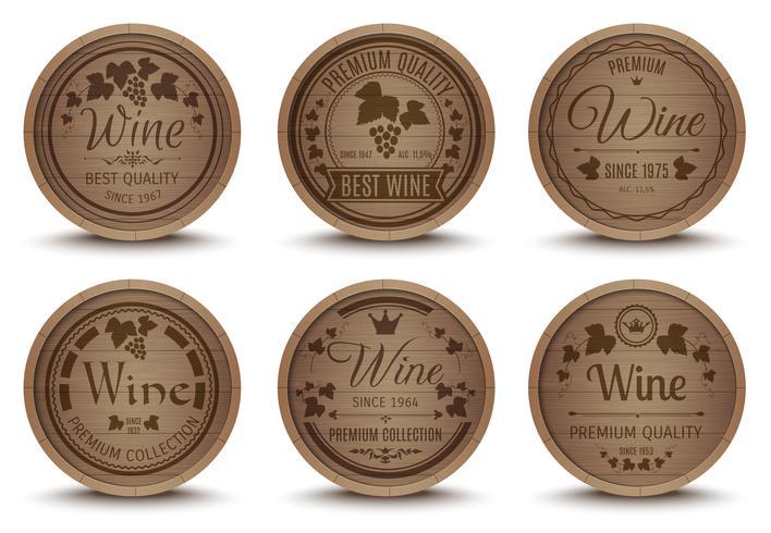 Conjunto de iconos de barriles de vino