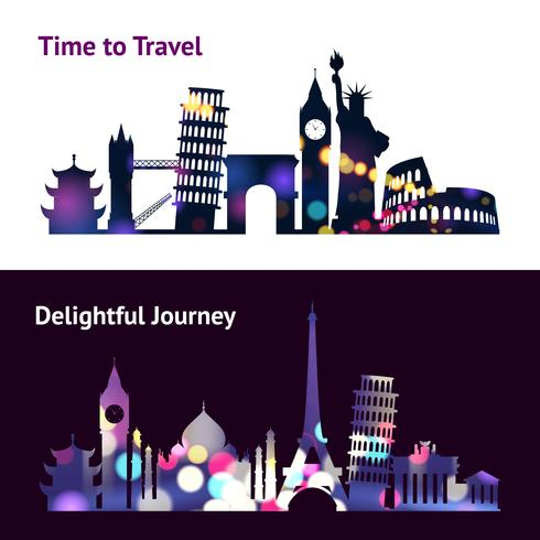 Travel Sights Banners vector