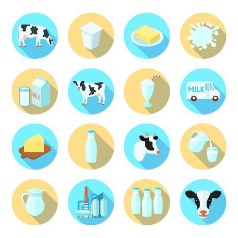 Set di icone piane di latte