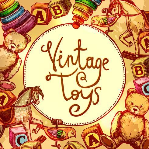 Vintage speelgoed samenstelling vector