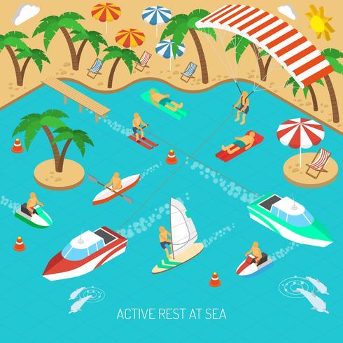 Aktiv vila till sjöss koncept