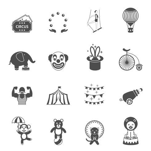 Chapito circus pictogrammen instellen zwart