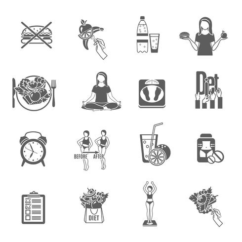 Conjunto de iconos de peso dieta suelta negro vector