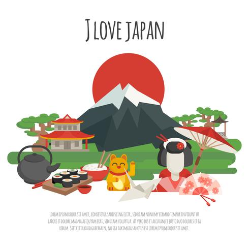 Cartel de símbolos de la tradición japonesa