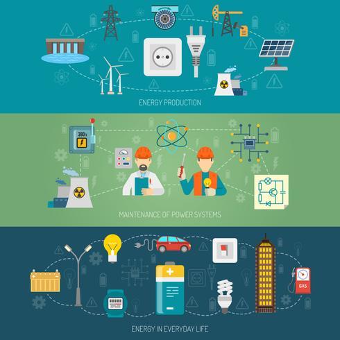 Energie power-systemen platte banners instellen vector