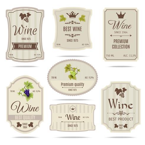 Jeu d'étiquettes de vin