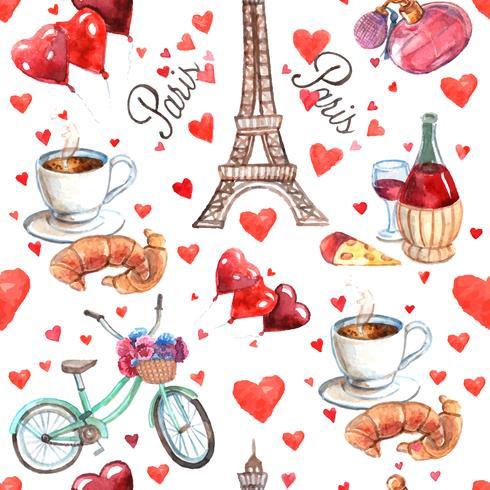 Paris sömlöst souvenirpappersmönster