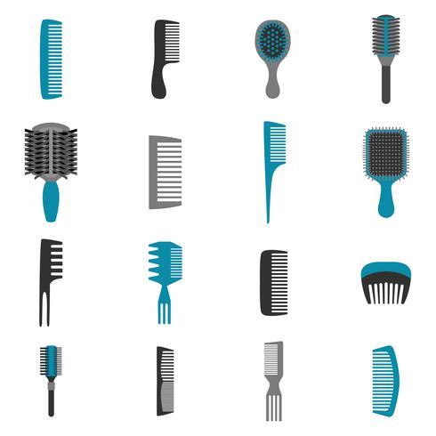 Comb Icons Flat Set vector