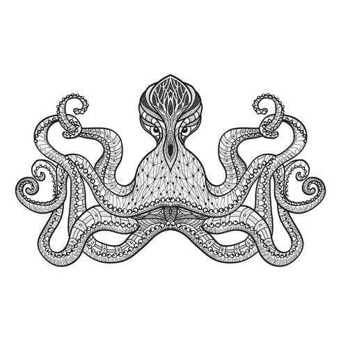 Doodle schets octopus zwarte lijn