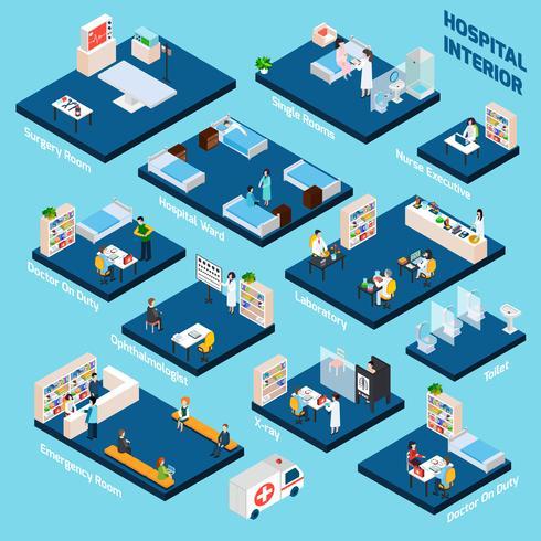 Interior isométrico del hospital vector