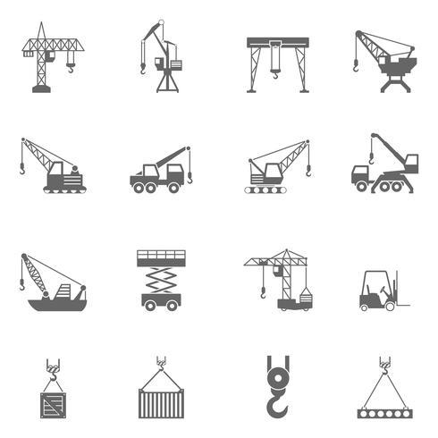 Conjunto de iconos de grúa de construcción de edificio negro