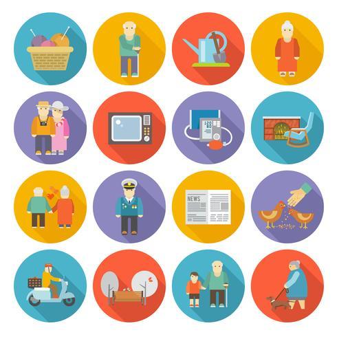 Pensionati Life Icons Flat