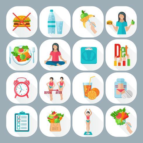 Conjunto de ícones plana de dieta solta de peso